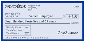 copy of a regular paycheck