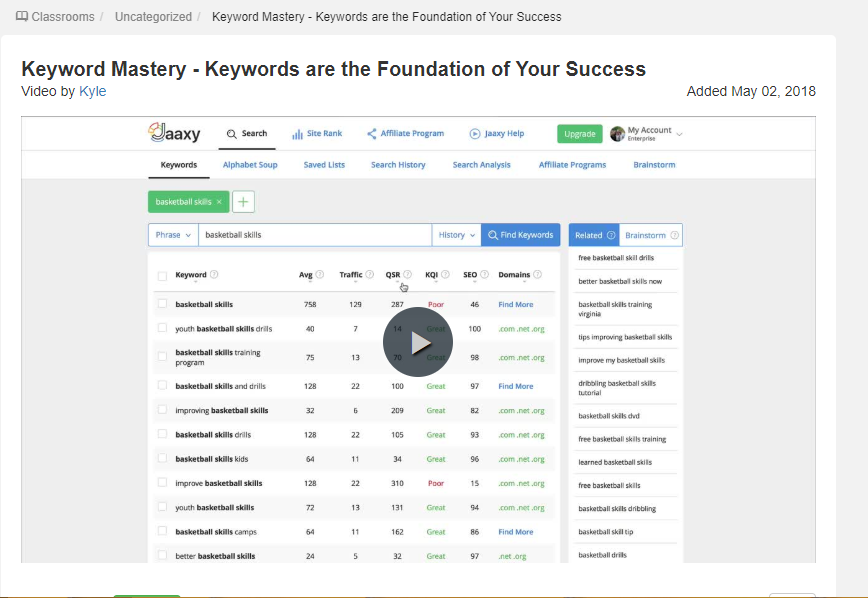Keyword Mastery Kyle Free Training Video