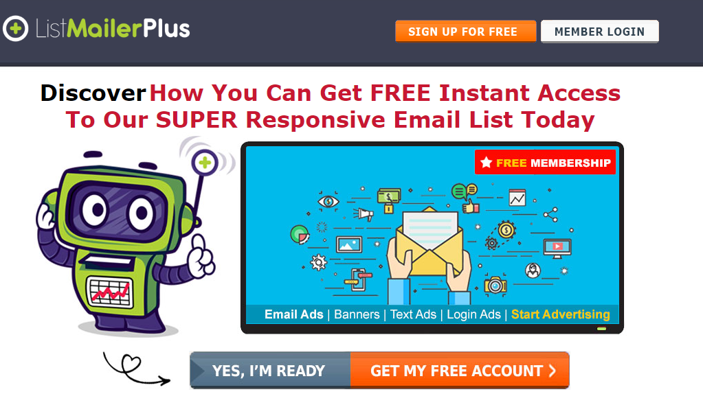 list mailer plus sign up screen