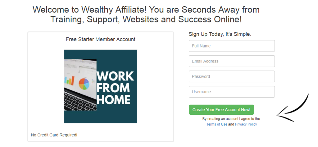 Create Your Free Account Now screenshot