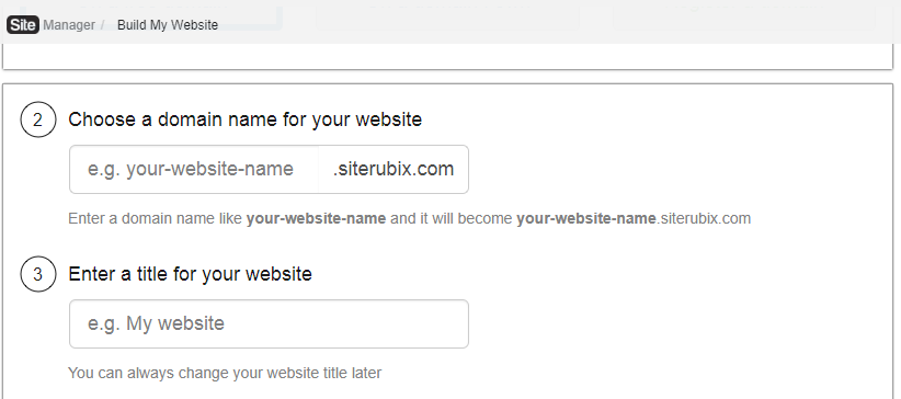Choose a domain name for site