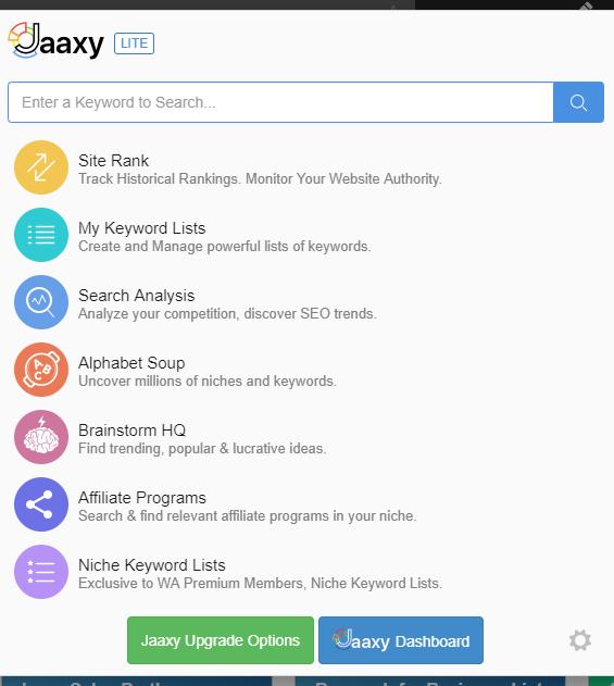 Jaaxy Lite Keyword Research Menu Screen