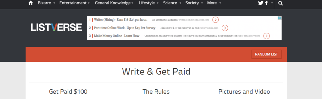 LISTVERSE WEBSITE FOR WRITERS