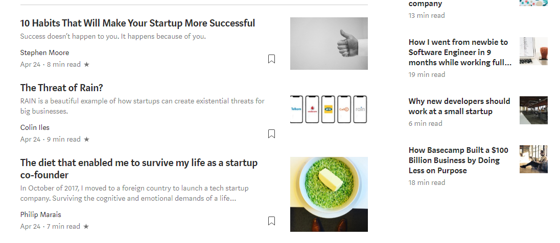 Medium Startup Articles