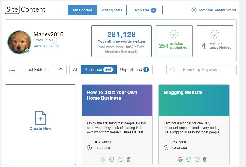 Site Content Screen