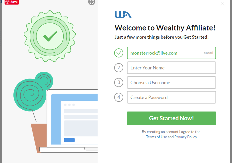 WA screenshot profile signup