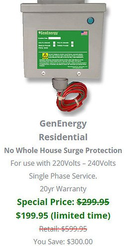 GenEnergy Residential No Surge Protection